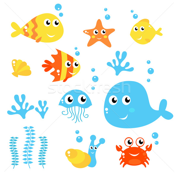 Marine Life - Sea and fishes collection isolated on white