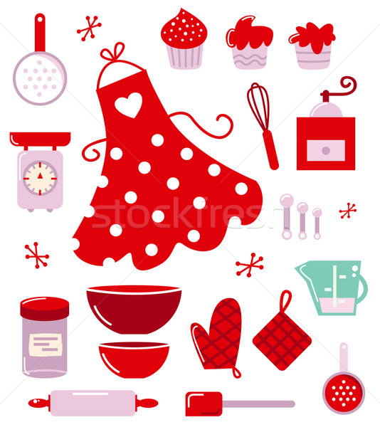 Stock photo: Icons or accessories for housewife isolated on white