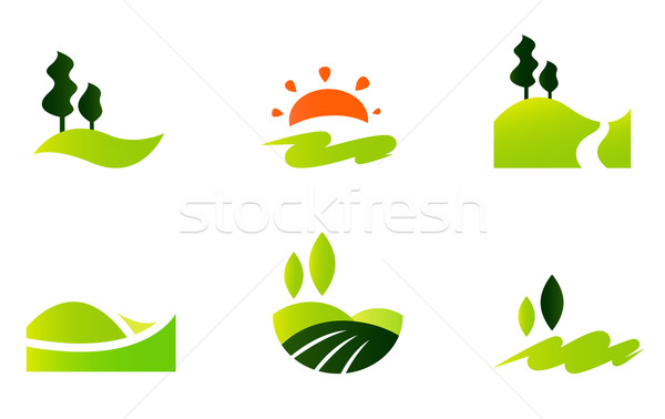 Rolling hills icons isolated on white Stock photo © lordalea