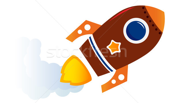 Flying cartoon brown rocket isolated on white  Stock photo © lordalea
