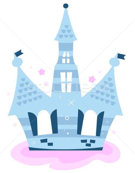Foto stock: Princesa · céu · castelo · isolado · branco · azul