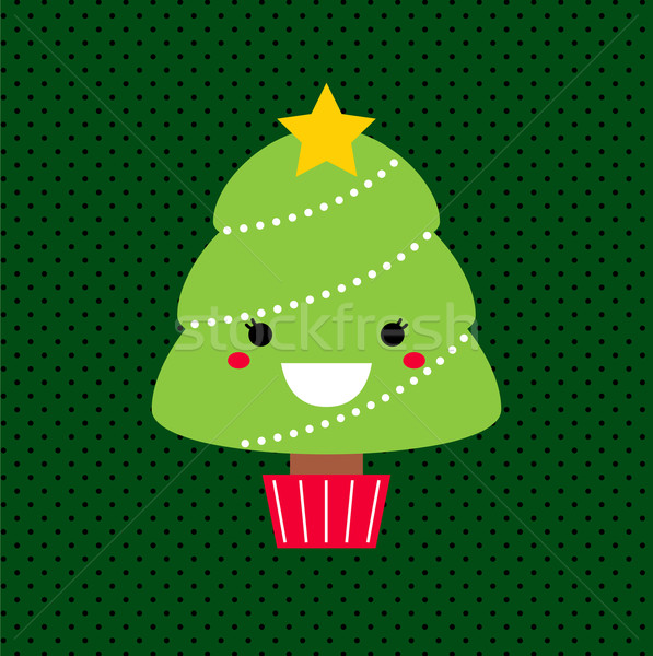 Adorable cartoon Christmas Kawaii tree isolated on dotted backgr Stock photo © lordalea