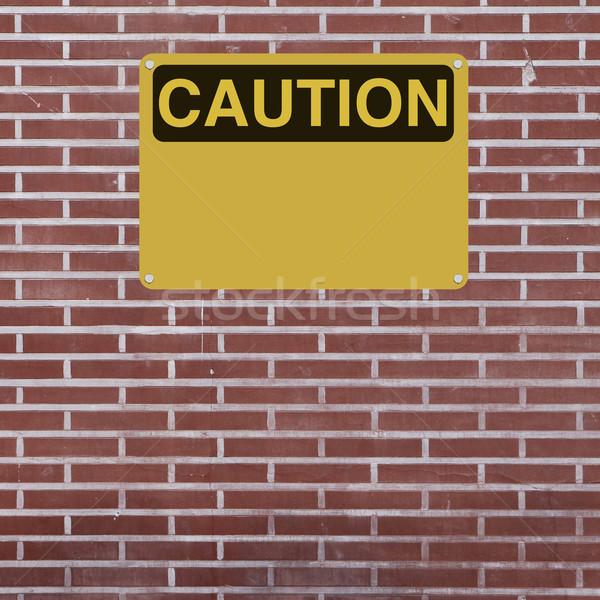 注意 にログイン レンガの壁 赤 黄色 危険 ストックフォト © lorenzodelacosta