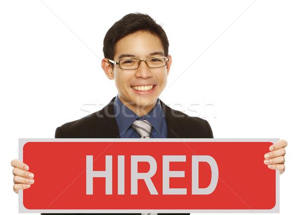 Stock fotó: állás · fiatalember · üzleti · öltözék · tart · felirat · üzlet