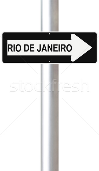 Erre Rio egyirányú utca Rio de Janeiro égbolt város Stock fotó © lorenzodelacosta