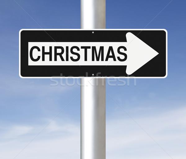 Karácsony erre egyirányú utca felirat kék nyíl Stock fotó © lorenzodelacosta