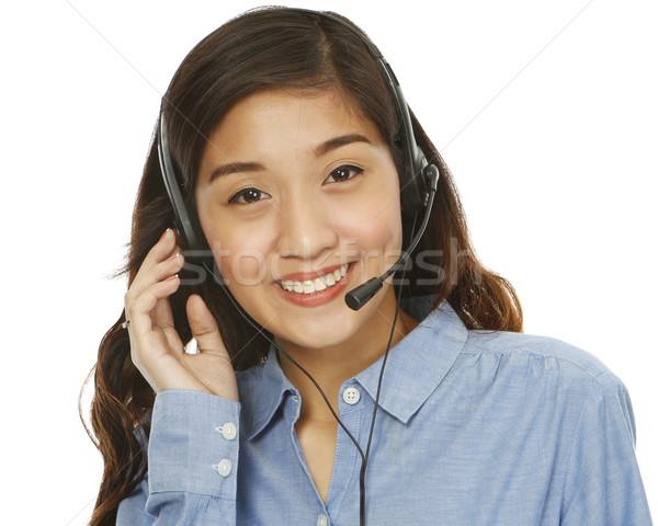 顧客サービス 小さな 笑顔の女性 着用 ヘッド 孤立した ストックフォト © lorenzodelacosta