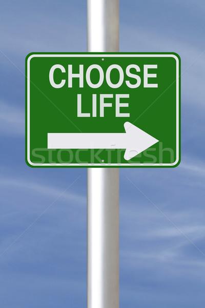 Wybierać życia w jedną stronę podpisania ulicy niebo podpisania Zdjęcia stock © lorenzodelacosta