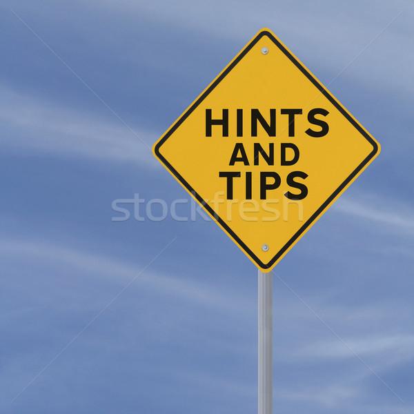 Porady znak drogowy Błękitne niebo niebo drogowego niebieski Zdjęcia stock © lorenzodelacosta