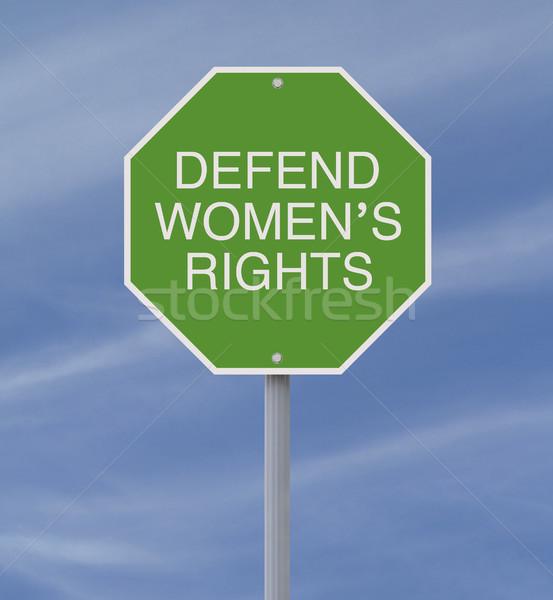 Direitos placa sinalizadora verde feminino apoiar proteção Foto stock © lorenzodelacosta