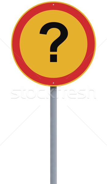 Bizonytalanság jelzőtábla kérdőjel felirat piros kérdés Stock fotó © lorenzodelacosta