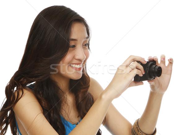 笑顔 若い女性 ポイント 女性 黒 ストックフォト © lorenzodelacosta