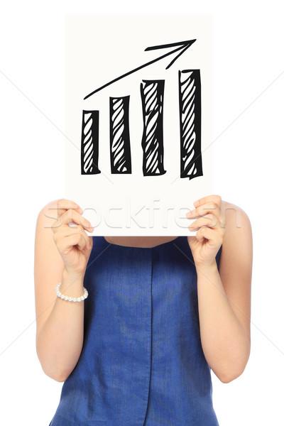 Pozytywny tendencja kobieta szkic wykres słupkowy Zdjęcia stock © lorenzodelacosta