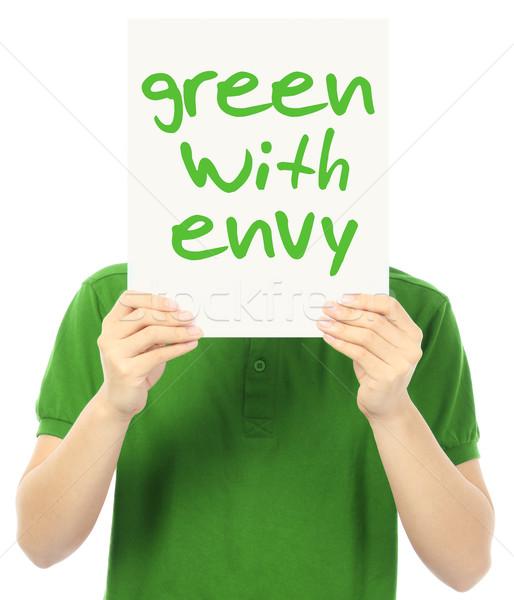Verde invidiare giovane poster segno Foto d'archivio © lorenzodelacosta