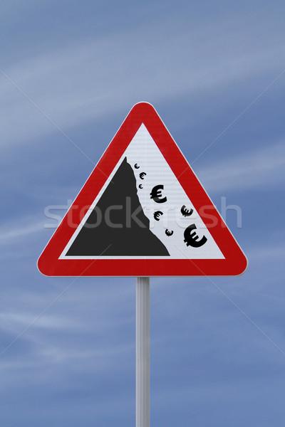 """Falling Euro""Conceptual Warning Sign  Stock photo © lorenzodelacosta"