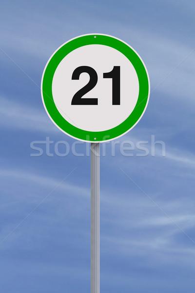 Veinte uno límite de velocidad signo número azul Foto stock © lorenzodelacosta