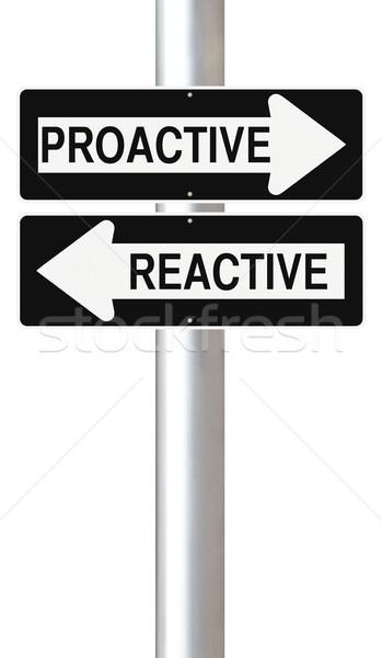 Proactivo calle signos signo dirección Foto stock © lorenzodelacosta