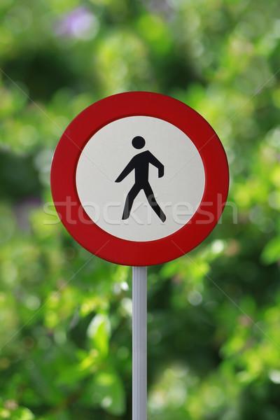 Nem gyalogos megengedett felirat jelzőtábla Stock fotó © lorenzodelacosta