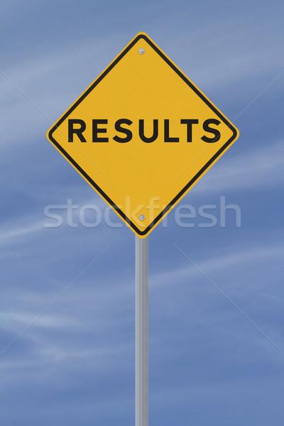 Ergebnisse Schild blauer Himmel Straße blau Warnung Stock foto © lorenzodelacosta