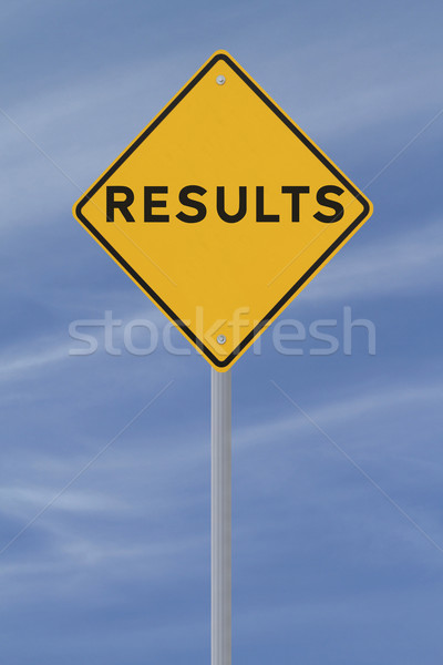 Resultaten verkeersbord blauwe hemel weg Blauw waarschuwing Stockfoto © lorenzodelacosta