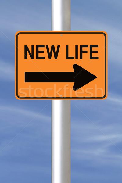 Yeni hayat yol işareti yeni başlangıçlar mavi gelecek Stok fotoğraf © lorenzodelacosta