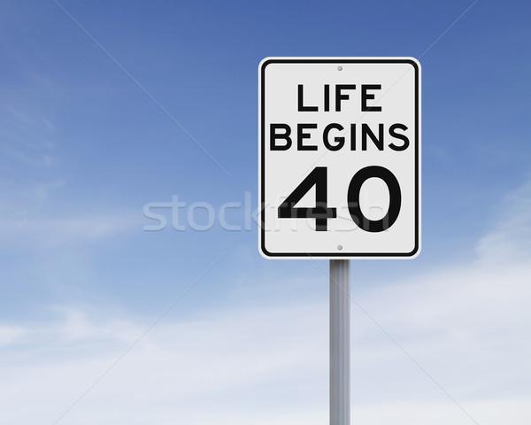 Hayat kırk hız limiti imzalamak mavi Stok fotoğraf © lorenzodelacosta