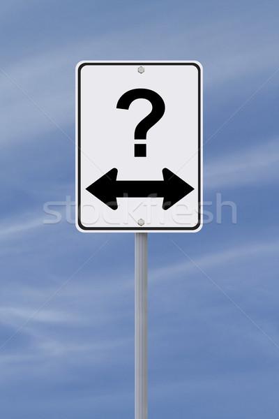 Manera la toma de decisiones incertidumbre cielo azul signo Foto stock © lorenzodelacosta