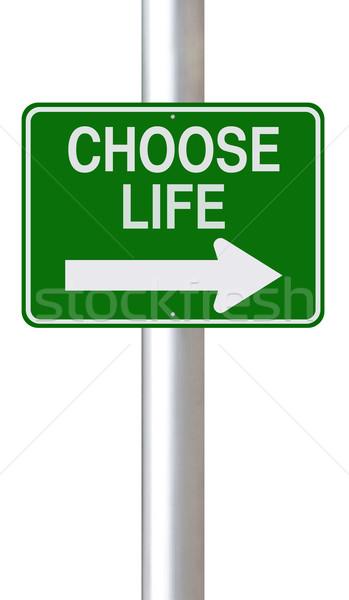 Choisir vie signe de rue signe vert Photo stock © lorenzodelacosta