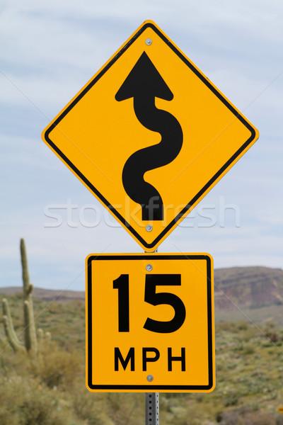 Limite de velocidade assinar Arizona deserto estrada azul Foto stock © lorenzodelacosta