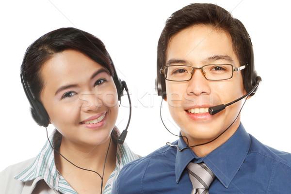 することができます ヘルプ 笑みを浮かべて 男 女性 着用 ストックフォト © lorenzodelacosta