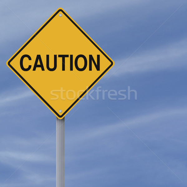 Сток-фото: осторожность · знак · Blue · Sky · синий · желтый