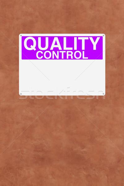 Kwaliteitscontrole teken muur Rood paars controle Stockfoto © lorenzodelacosta