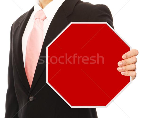 Dur işareti adam iş kıyafetleri iş işadamı Stok fotoğraf © lorenzodelacosta