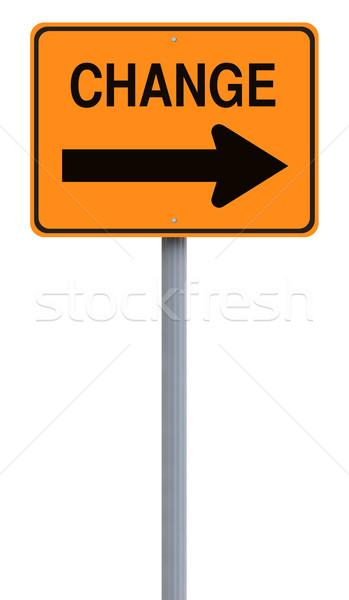 Foto stock: Mudar · placa · sinalizadora · isolado · fundo · branco · conceptual