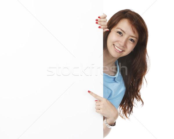 女性 後ろ 壁 若い女性 白 スペース ストックフォト © lorenzodelacosta