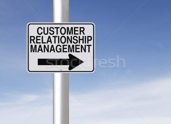 Vásárló kapcsolat vezetőség egyirányú jelzőtábla felirat Stock fotó © lorenzodelacosta