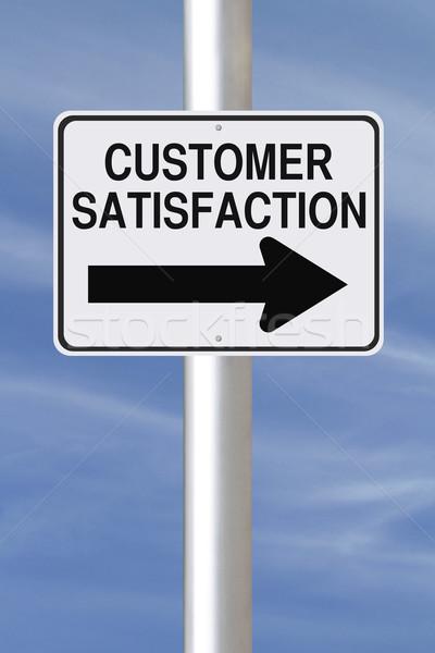 Satisfacción del cliente placa de la calle negocios cielo senalización de la carretera Foto stock © lorenzodelacosta