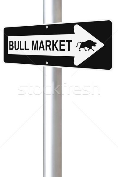 Bika piac erre egyirányú jelzőtábla üzlet Stock fotó © lorenzodelacosta