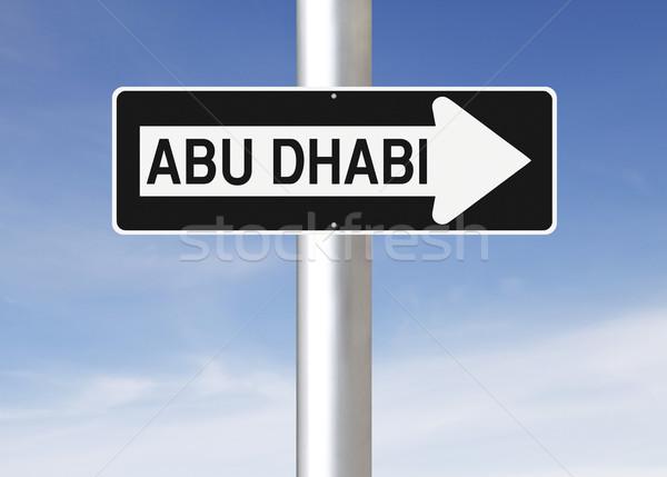 Abu Dabi şehir imzalamak mavi Stok fotoğraf © lorenzodelacosta