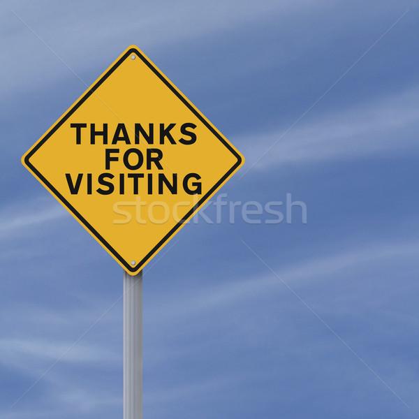 Gracias senalización de la carretera signo azul concepto conceptual Foto stock © lorenzodelacosta