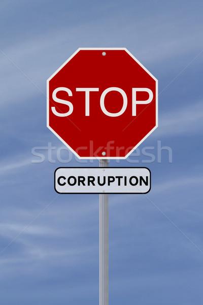 Stop korrupció stoptábla égbolt felirat piros Stock fotó © lorenzodelacosta