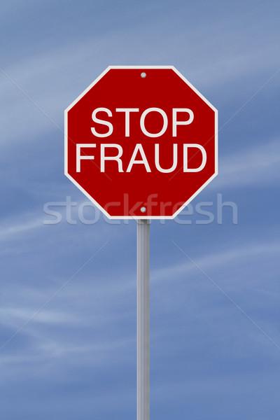 Stoppen bedrog stopteken teken Blauw concept Stockfoto © lorenzodelacosta