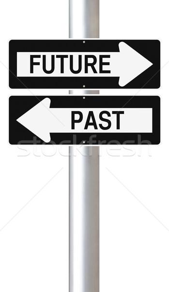 Pasado futuro las senales de tráfico signo flecha Foto stock © lorenzodelacosta