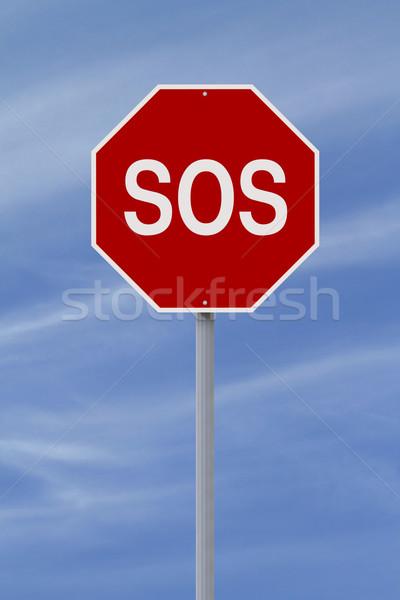 Sos sinal de parada céu ajudar vermelho perigo Foto stock © lorenzodelacosta