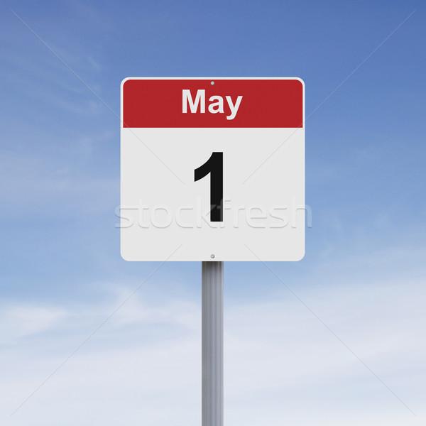 Eerste verkeersbord teken concept datum dag Stockfoto © lorenzodelacosta