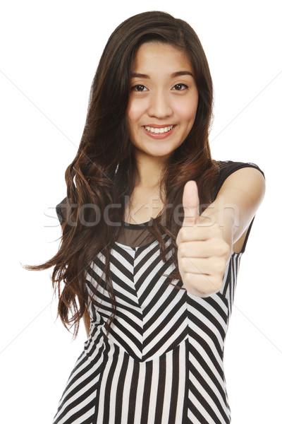 Remek fiatal nő felirat izolált fehér nő Stock fotó © lorenzodelacosta