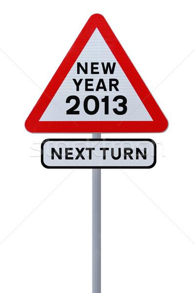 új év jelzőtábla bejelent 2013 izolált fehér Stock fotó © lorenzodelacosta
