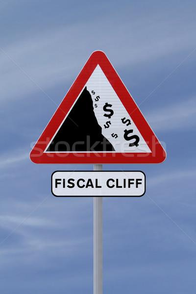 финансовый утес дорожный знак Blue Sky деньги синий Сток-фото © lorenzodelacosta