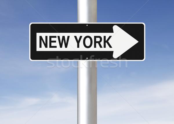 Erre New York egyirányú utca felirat kék Stock fotó © lorenzodelacosta