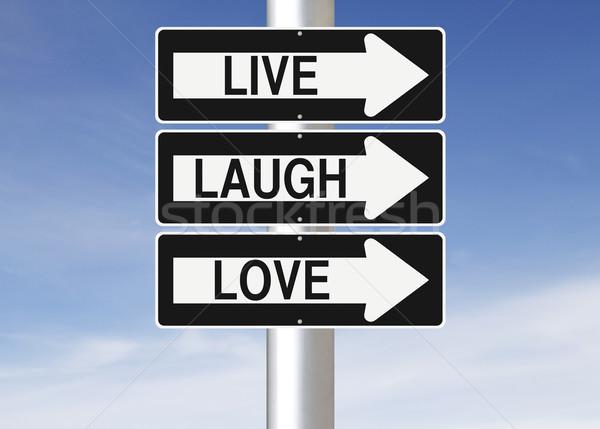 Yaşamak gülmek sevmek işaretleri gökyüzü Stok fotoğraf © lorenzodelacosta